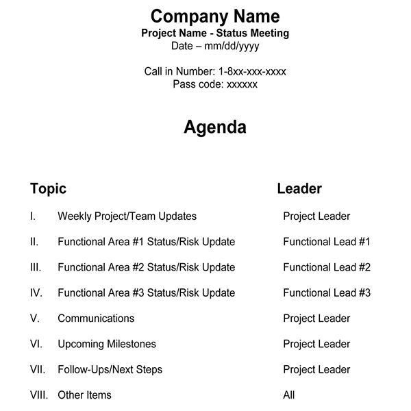 Free Team Meeting Agenda Template for Managers & Project Teams