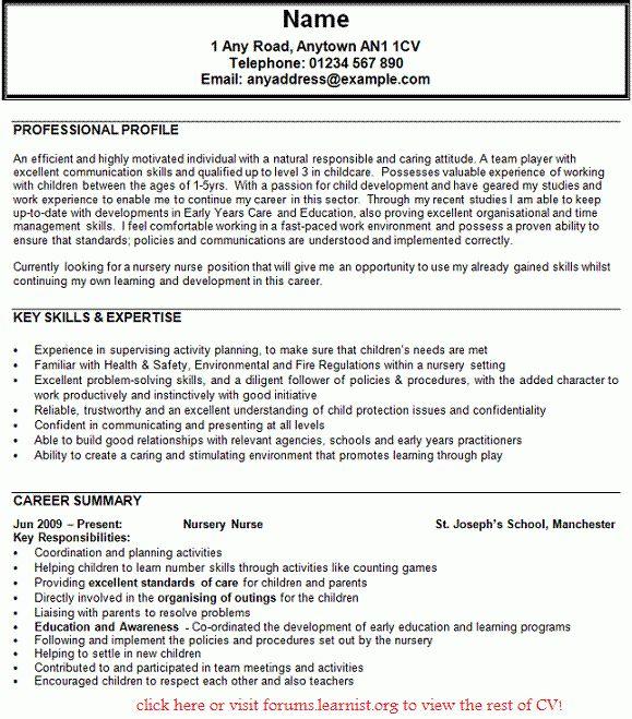 Nursery Nurse CV Example - forums.learnist.org