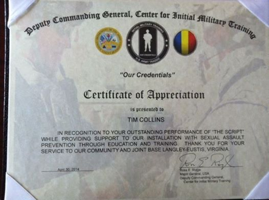 TIM COLLINS | CERTIFICATE OF APPRECIATION from the U.S. ARMY!