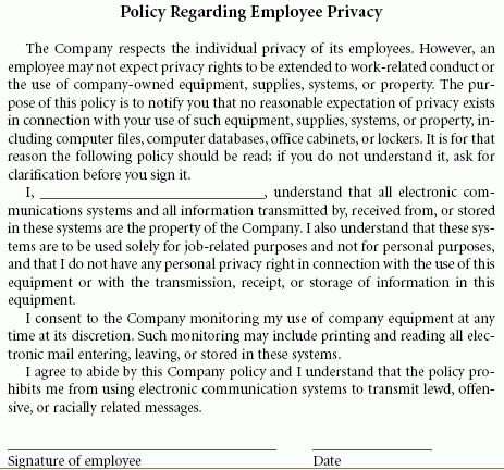 Employee Privacy Policy Sample | E Travel Week