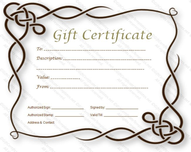 Formal gift certificate template - Certificate Templates