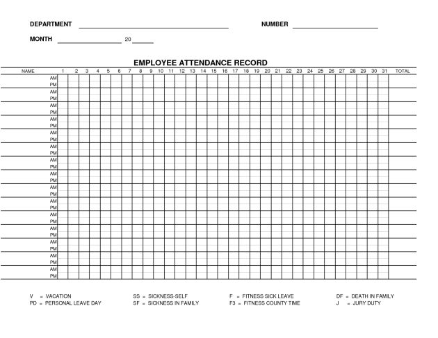 Free Printable Blank Employee Attendance Record Template Sample ...