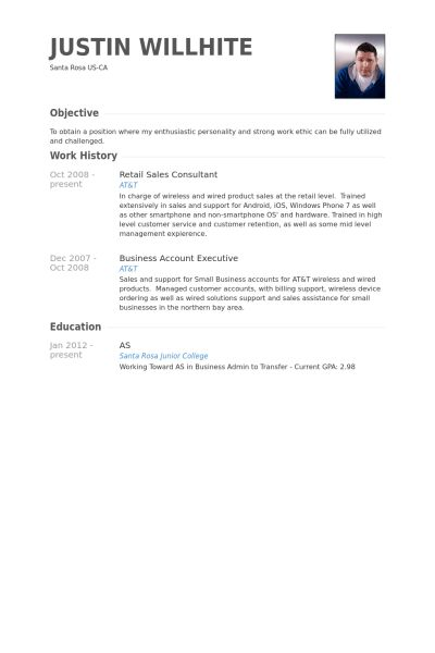 Retail Sales Consultant Resume samples - VisualCV resume samples ...