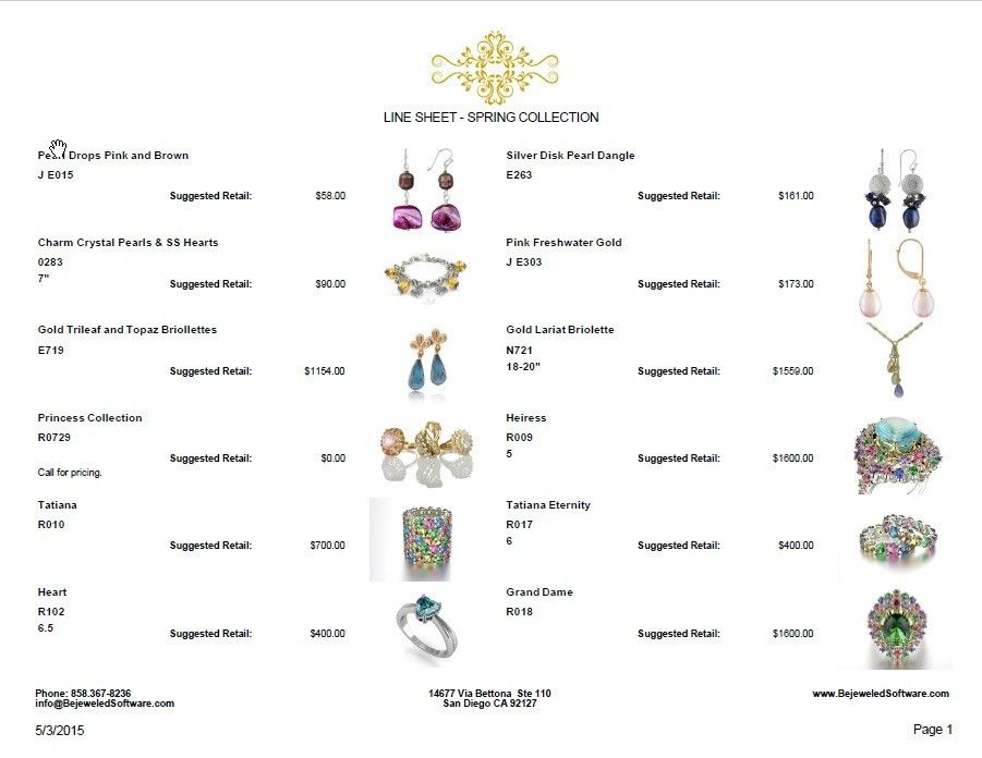Sell Jewelry | Jewelry Software | Line Sheet | Jewelry Design