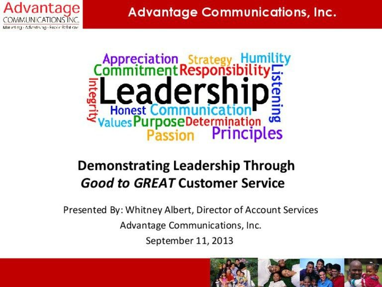 Demonstrating Leadership Through Good to Great Customer Service