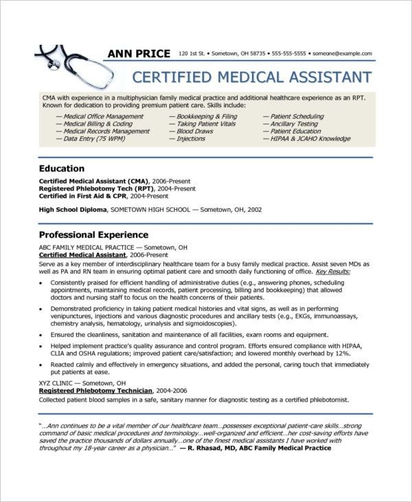 Medical Assistant Resumes Examples. Certified Medical Assistant ...