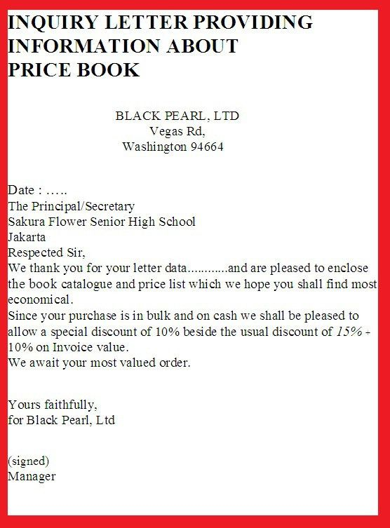 INQUIRY LETTER PROVIDING INFORMATION ABOUT PRICE BOOK | business ...