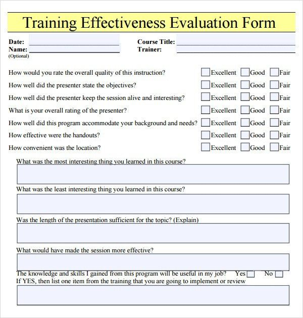 Training Evaluation Form   15+ Download Free Documents In Word, PDF  Free Feedback Form