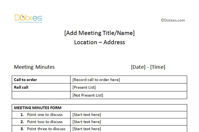 Meeting Minutes Sample (Plain Table Format) - Dotxes