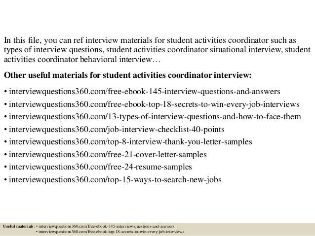 Top 10 student activities coordinator interview questions and answers