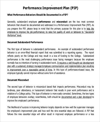 Sample improvement plan sample quality improvement plan summer performance improvement plan example 9 samples in word pdf pronofoot35fo Images