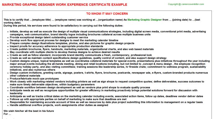 Marketing Graphic Designer Work Experience Certificate