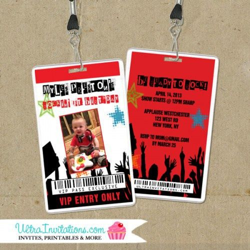 BOYS vip TICKET Party Invitation | ... Invites Modern Boy Modern ...
