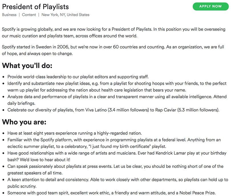 Spotify Thinks Big and Crafts Crafts an Ambitious Job Description ...