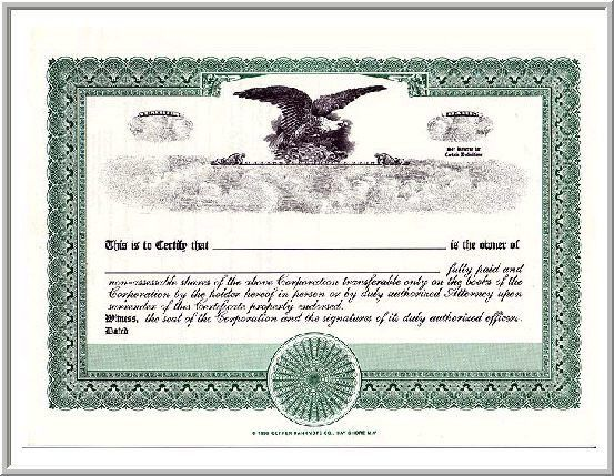 will fit on the standard blank Corpex Eagle stock certificates ...