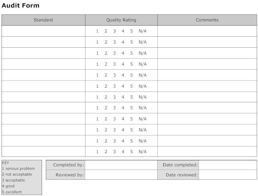Simple Audit Form Template Sample with Standard and Quality Rating ...