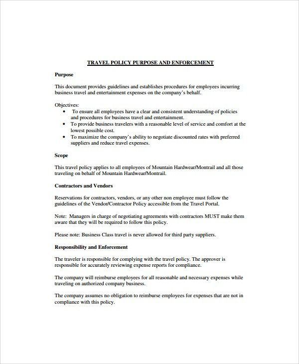 Sample Travel Policy Template - 9+ Free Documents Download in Word ...