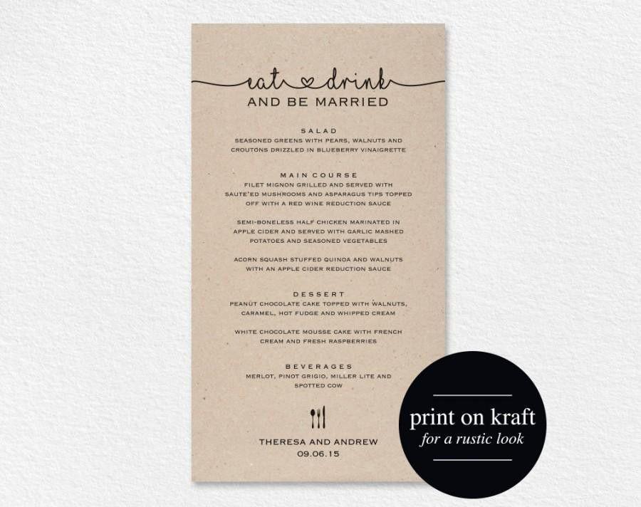 Wedding Menu Printable, Wedding Menu Template, Wedding Menu Cards ...
