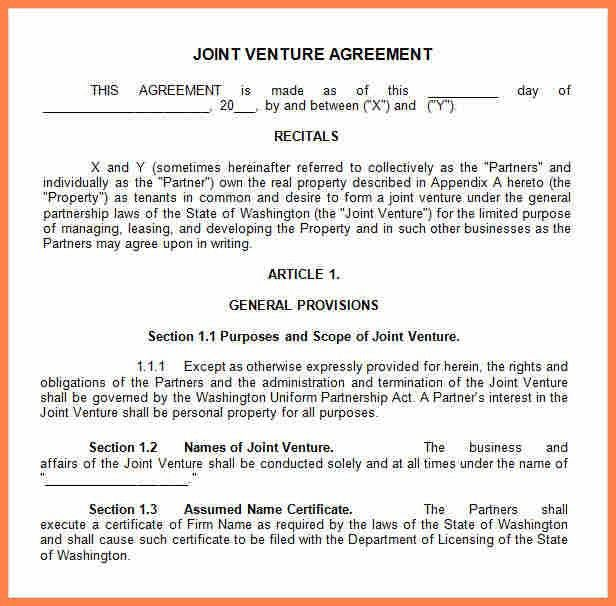 7+ joint venture partnership agreement template | Purchase ...