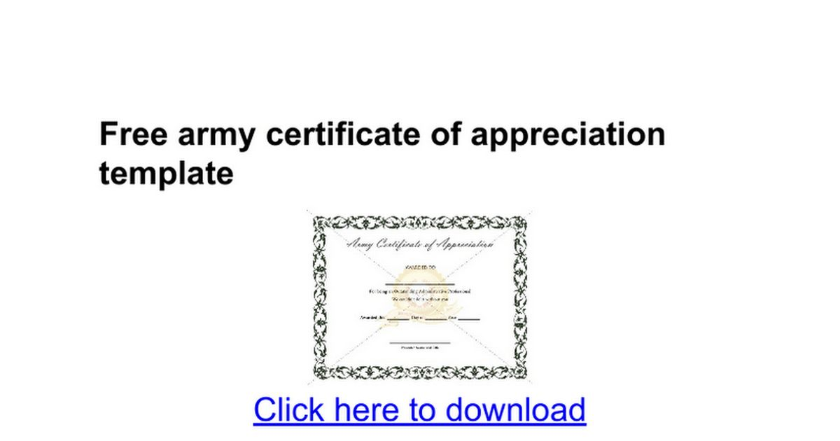 Free army certificate of appreciation template - Google Docs