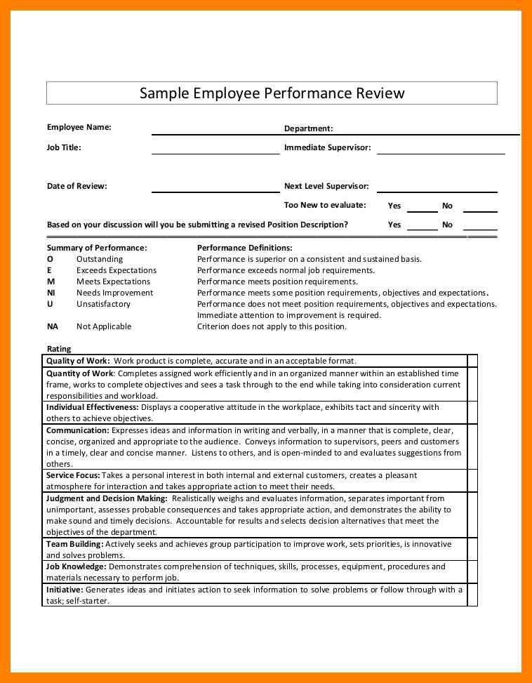 100+ Employee Performance Evaluation Sample Template | Employee ...