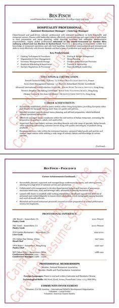 Hospitality-Resume-Writing Example-Page-1 | Resume Writing Tips ...