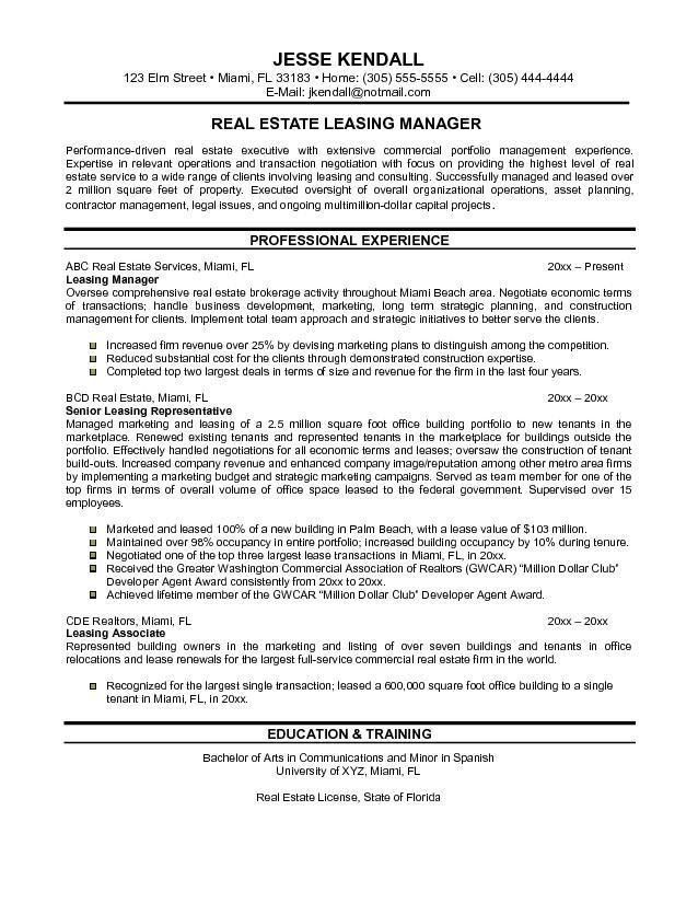 Download Real Estate Administration Sample Resume ...