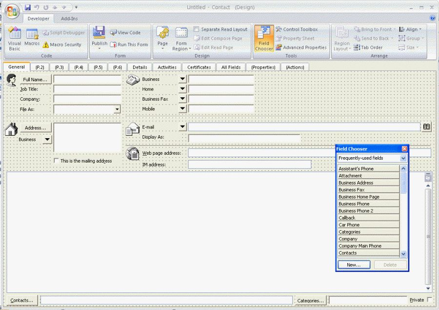 Designing Custom Outlook Forms