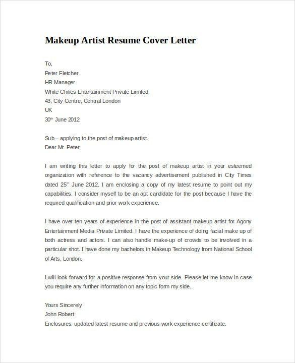 Makeup Artist Cover Letter - My Document Blog