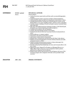 Financial Advisor Resume Sample | Velvet Jobs