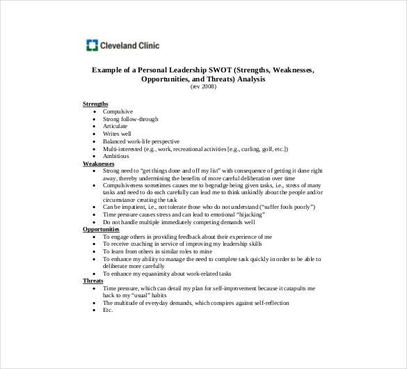 Personal SWOT Analysis Template - 8+ Free Word, Excel, PDF ...
