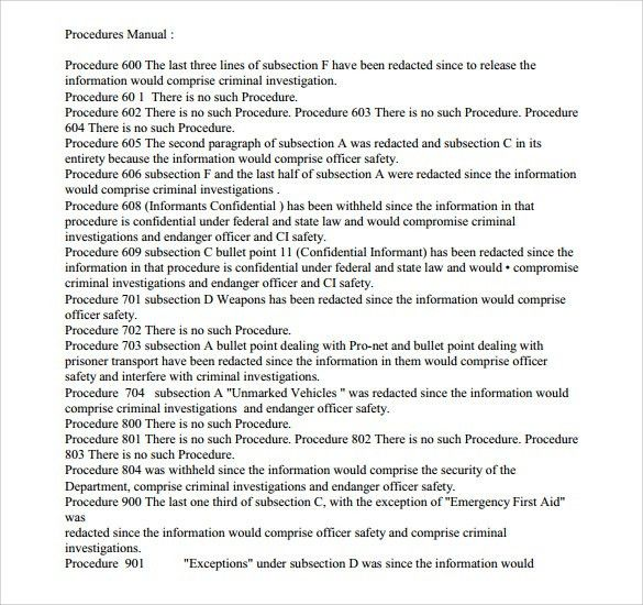 Sample Procedure Manual - 7+ Documents in PDF, Word