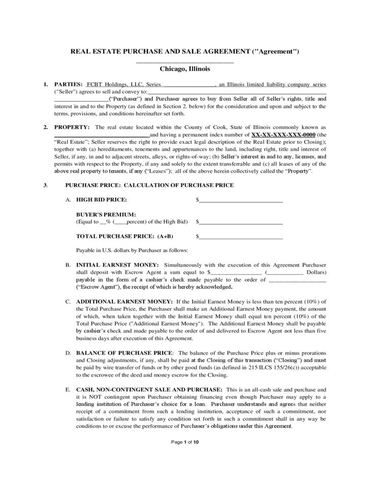 Real Estate Purchase and Sale Agreement - Illinois Free Download