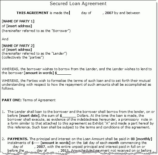 Loan Information 2012: Loan Agreement Sample