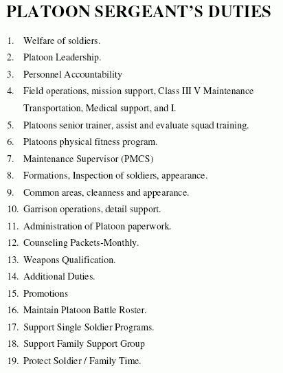 Platoon Sergeant Duties (ArmyStudyGuide.com)