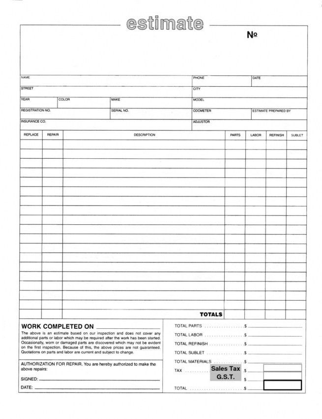 Auto Repair Invoice Templates. Auto Glass Invoice Template Free ...