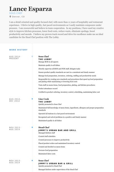 Sous Chef Resume samples - VisualCV resume samples database