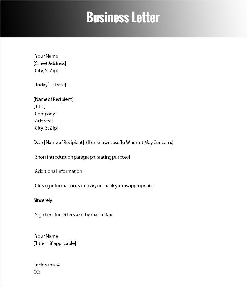 Formal Letter Templates - Free Word Documents Download | Creative ...