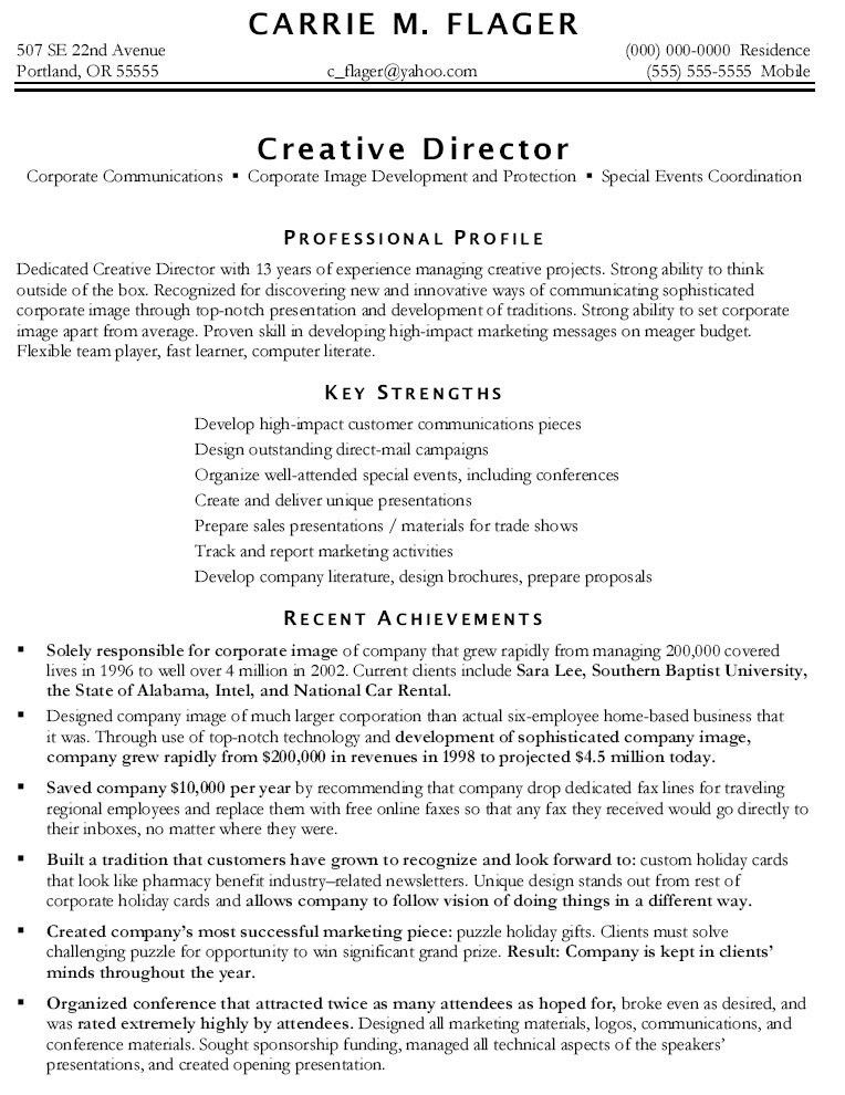 Marketing Resume Template. Sample Marketing Director Resume ...