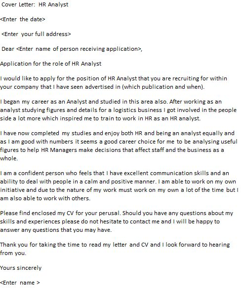 HR Analyst Cover Letter Example - icover.org.uk