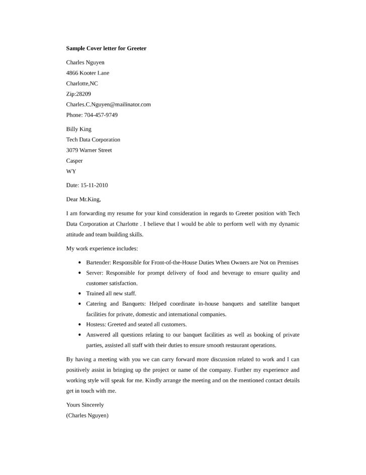 Basic Greeter Cover Letter Samples and Templates