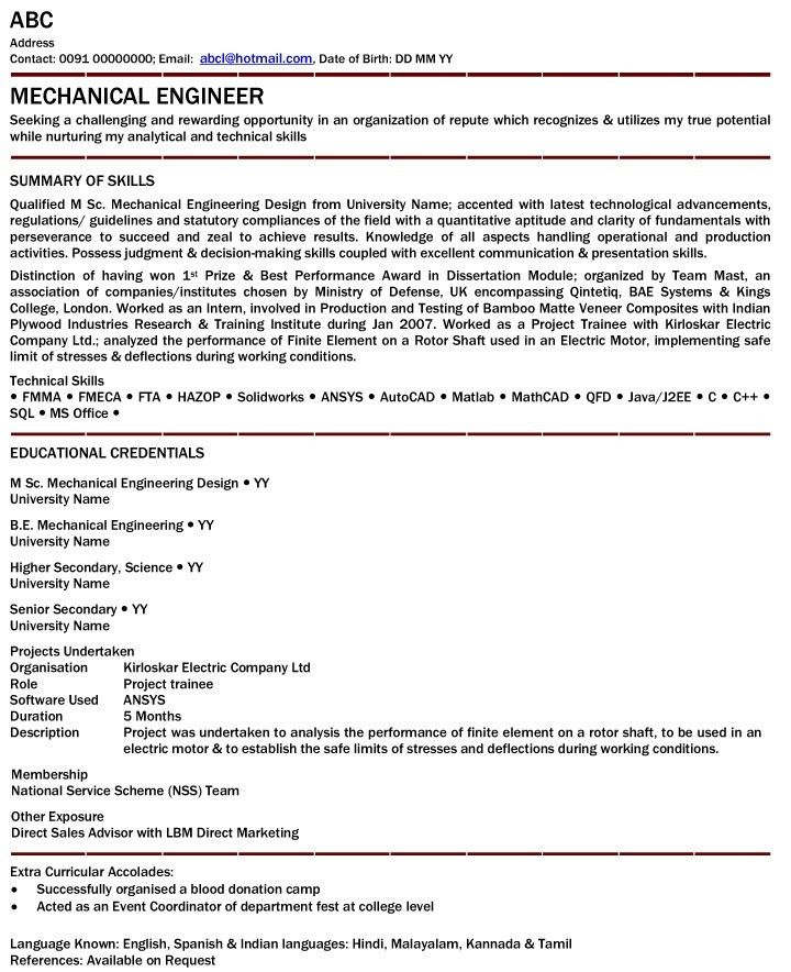 Mechanical Engineer Resume For Fresher - Mechanical Engineer ...