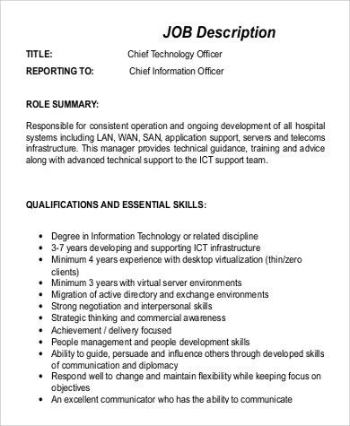 Sample CTO Job Description - 9+ Examples in Word, PDF