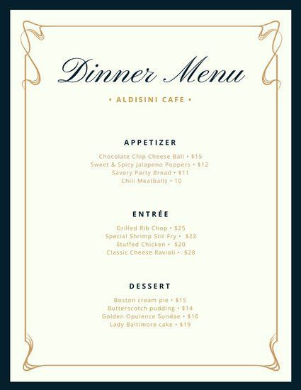 Cream and Blue Fancy Border Dinner Menu - Templates by Canva