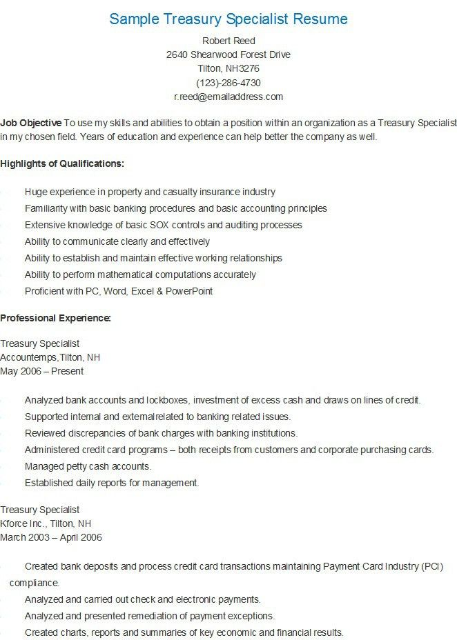 Sample Treasury Specialist Resume | resame | Pinterest