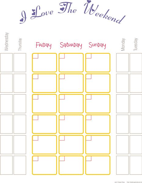 Weekend Calendar Template | Blank Calendar Design 2017