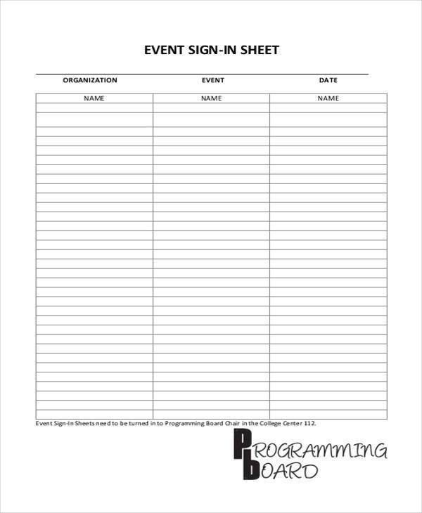 Event Sign In Sheet Template [Template.billybullock.us ]