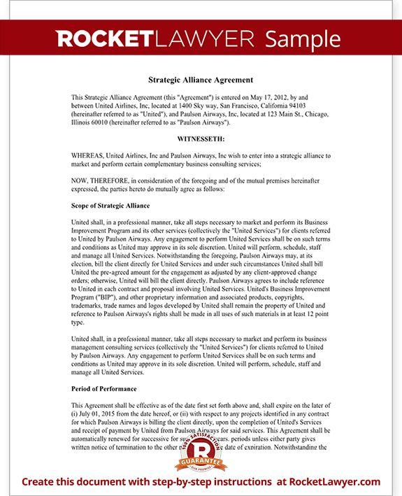 Strategic Alliance Agreement Template - Strategic Parnership ...