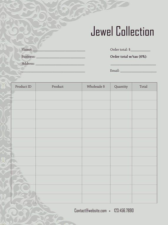 Price Sheet or Order Form for line sheet Add a page Jewel