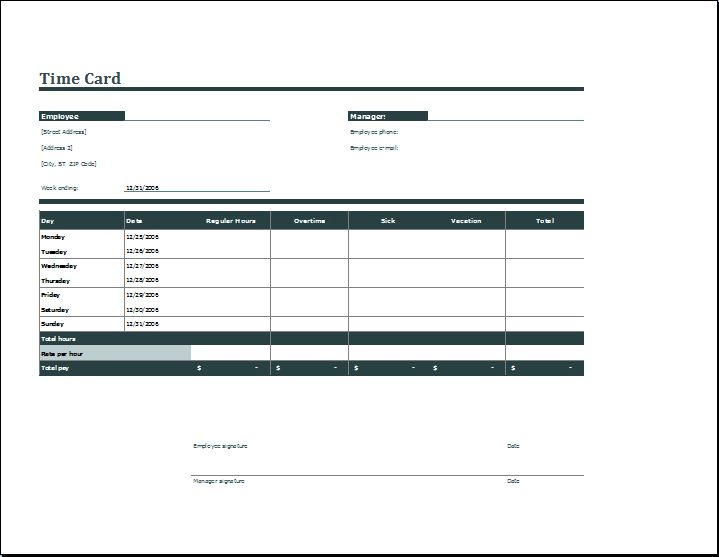 Employee Daily Time Card Format | Word & Excel Templates
